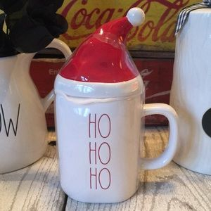 Rae Dunn HO HO HO Mug With a Santa Hat Topper